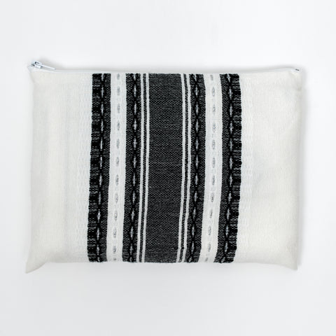 Samuel - Wool Tallit  - Black and Silver on White