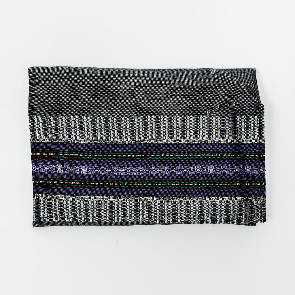 Elia - Silk Tallit- Purple and Gold on Gray
