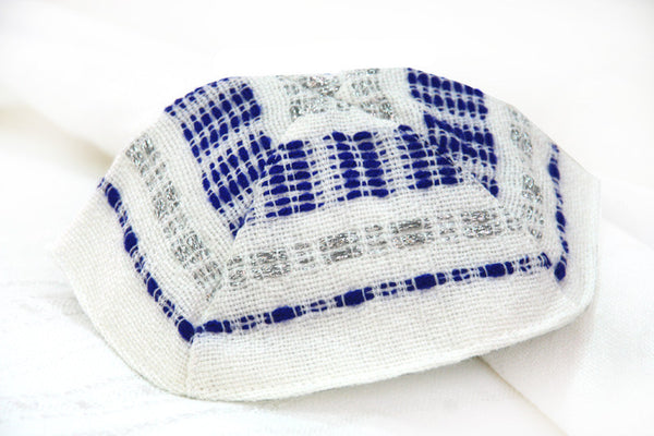 Wool Tallit - Blue and Silver on White