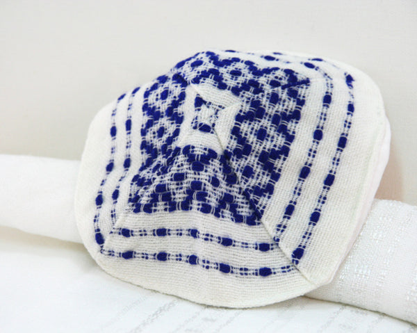 Wool Tallit  - Blue on White