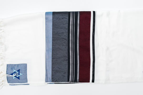 NEW - Elegant Gabrieli tallit - Bordeaux on White