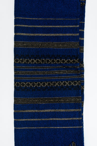 Hagar - Wool Tallit - Blue with Black and Gold Stripes