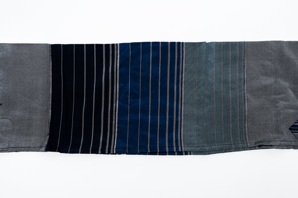 Ella - Silk Tallit- 3 Blues with Silver on Gray