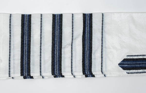 Ruth - Silk Tallit - Blue and Black with Silver on White