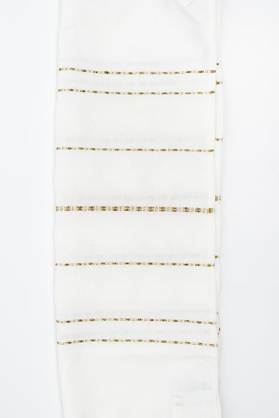 Perach - Wool Tallit - Gold Stripes on White