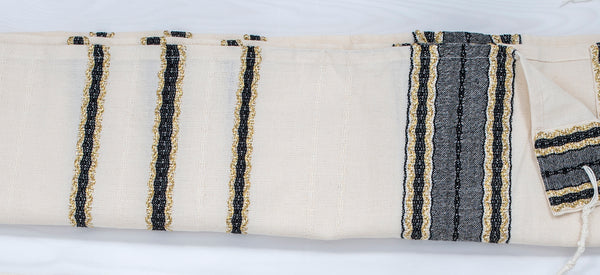 Adam - Cotton Tallit - Black and Gold on Off-White