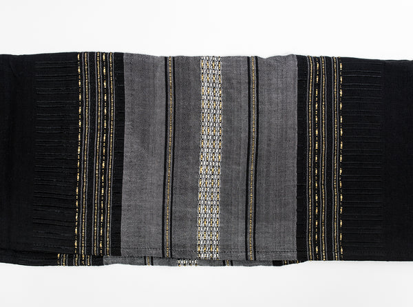 Elia - Silk Tallit - Gray with Gold on Black