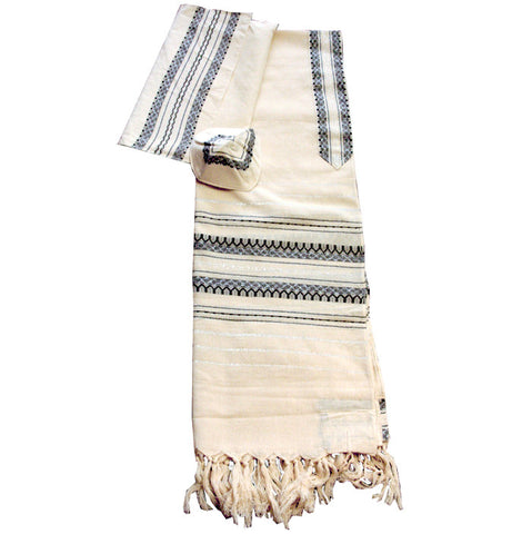 Cotton Gabrieli Tallit - Black and Silver on Off White