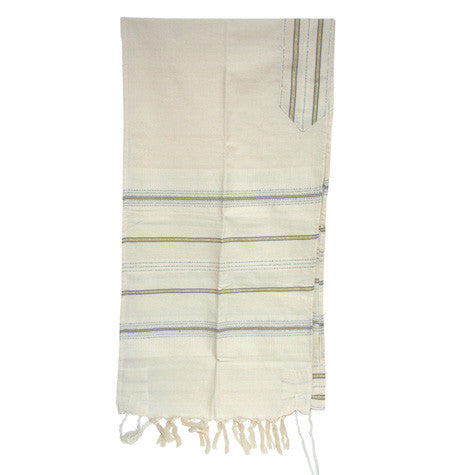 Cotton Gabrieli Tallit - Blue and Gold on Cream