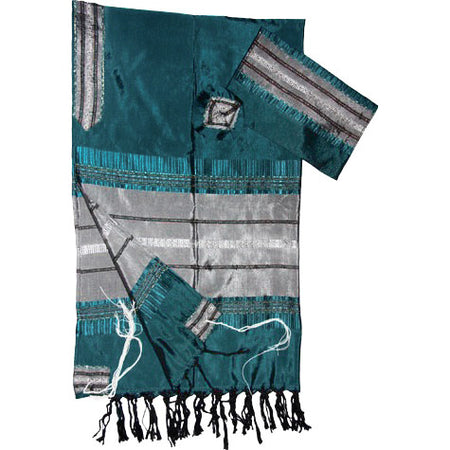 Elia - Silk Tallit - Teal Green with Silver