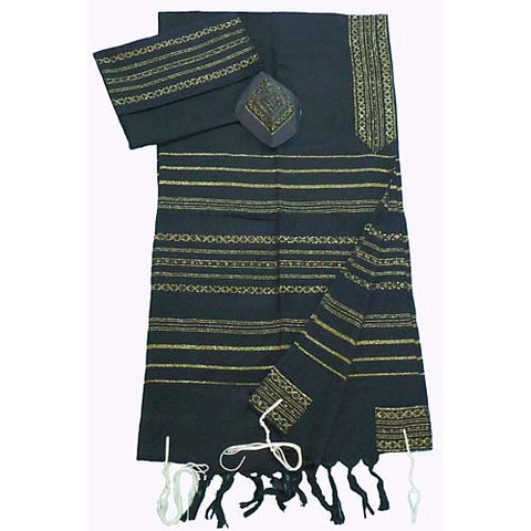 Cotton Gabrieli Tallit - Black with Gold