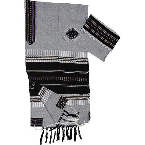 Elia - Cotton Tallit - Black on Gray with Silver