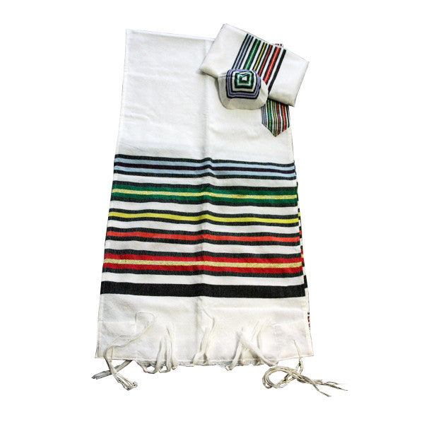 Wool Tallit - Purim on White