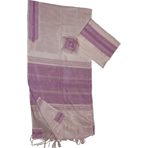 Gabrieli Silk Tallit- White with Purple
