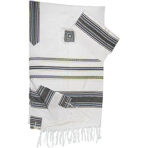 Gabrieli Silk Tallit - Blue Stripes with Gold