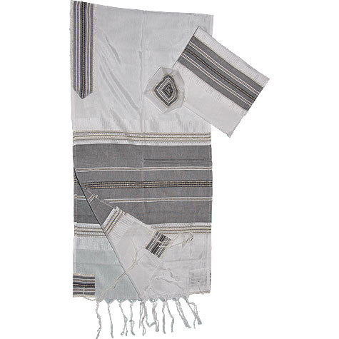 Gabrieli Silk Tallit- Classic Design - Black with Gold
