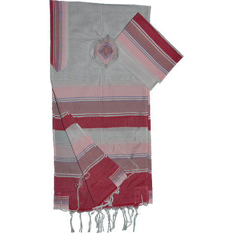 Gabrieli Silk Tallit - White with Shades of Pink