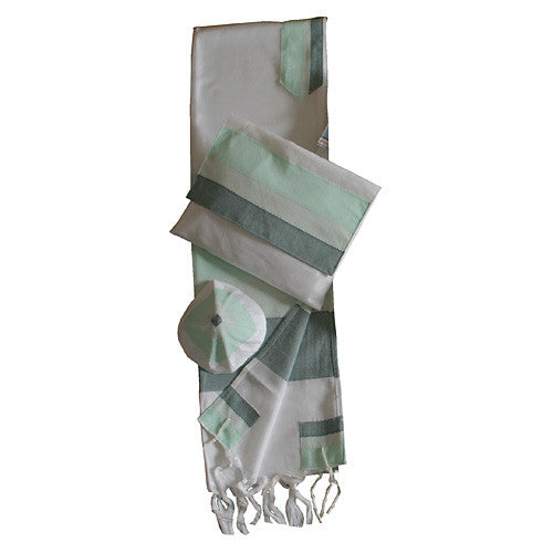 Gabrieli Silk Tallit - White with Shades of Green