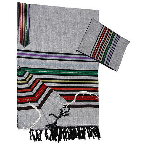 Wool Tallit - Joseph's Coat on Gray
