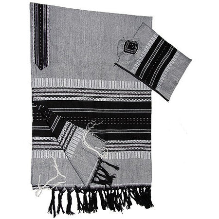 Wool Tallit - Gray and Black