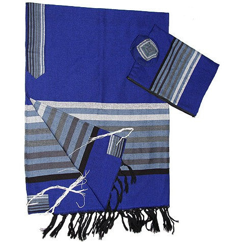 Wool Tallit - Blue with Grey scale Stripes