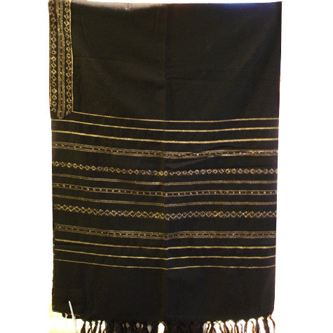 Wool Tallit - Gold Stripes on Black