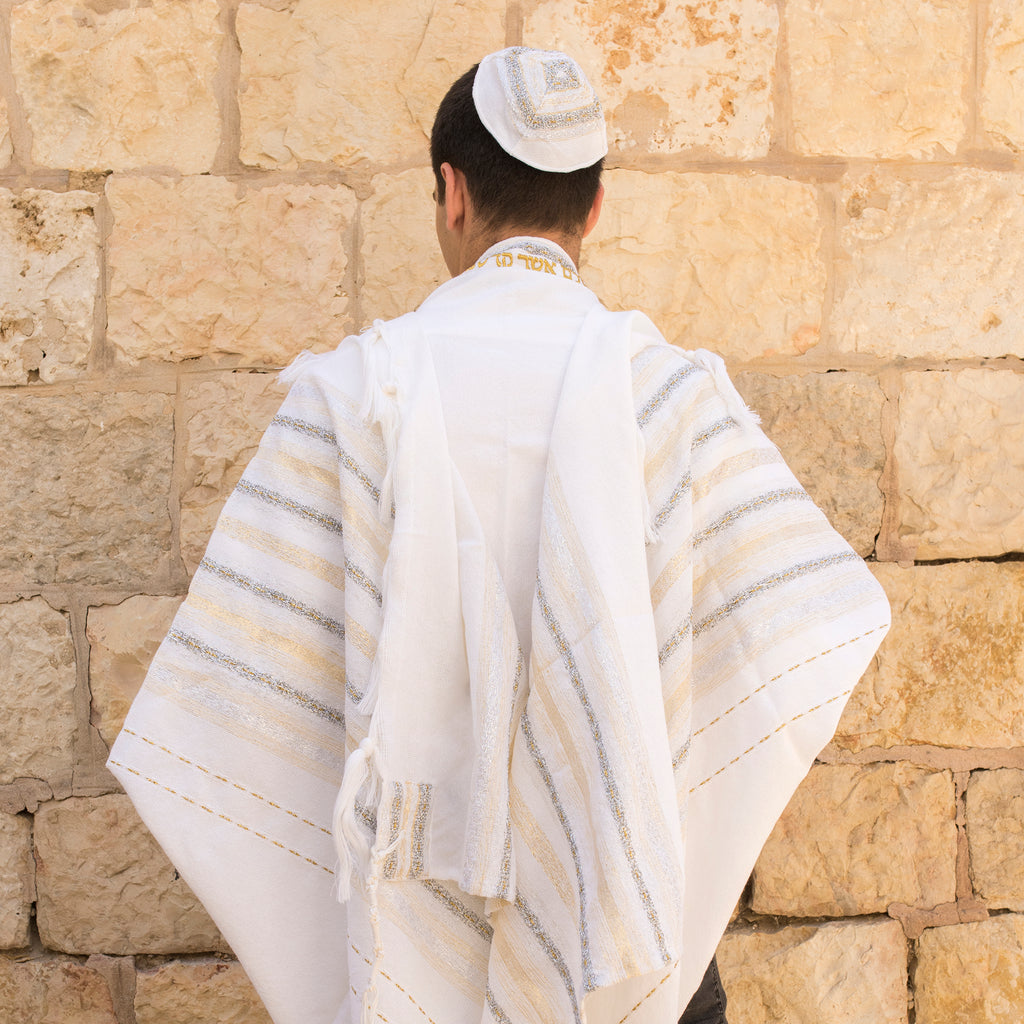 Gabrieli Premium - Wool Tallit - Gold & Silver on White
