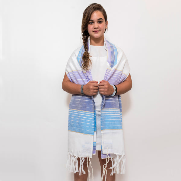 Ella - Silk Tallit  - Pastel Purple and Blues with Gold on White