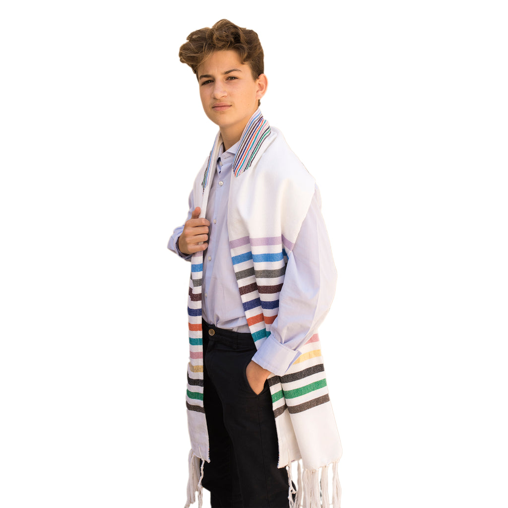 Josef - Wool Tallit - 12 Stripes on White