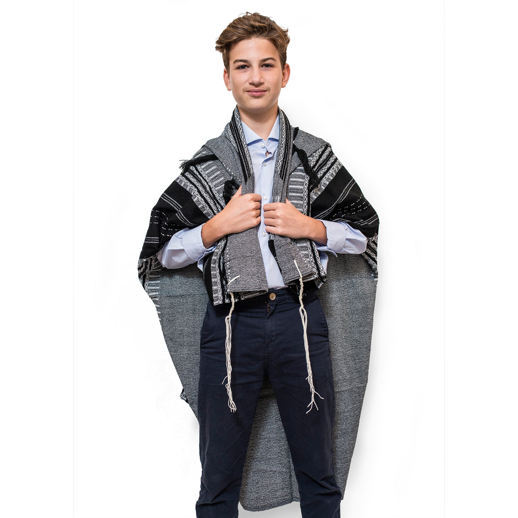 Elia - Wool Tallit - Black on Gray with Silver