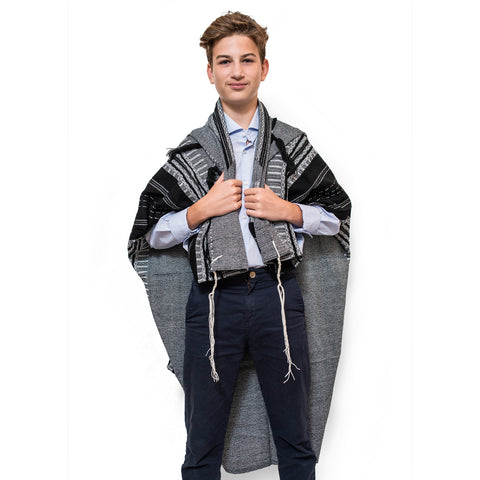 Eliya - Wool Tallit - Black on Gray with Silver