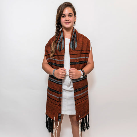 Solomon - Wool Tallit - Black and Gray with Gold and Silver on Orange