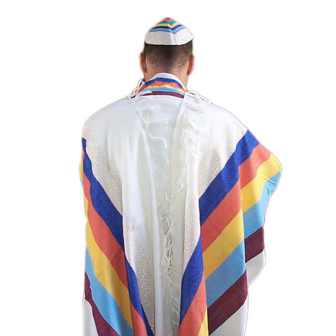 Emanuel - Wool Tallit - 6 Wide Stripes