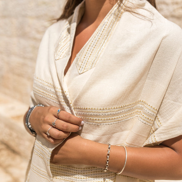 Elia - Cotton Tallit - Gold and Silver on Off-White