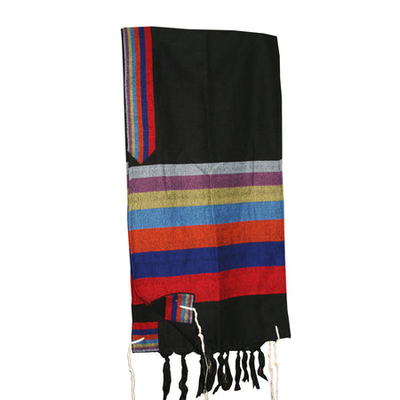 Esther - Wool Tallit - Rainbow Stripes on Black