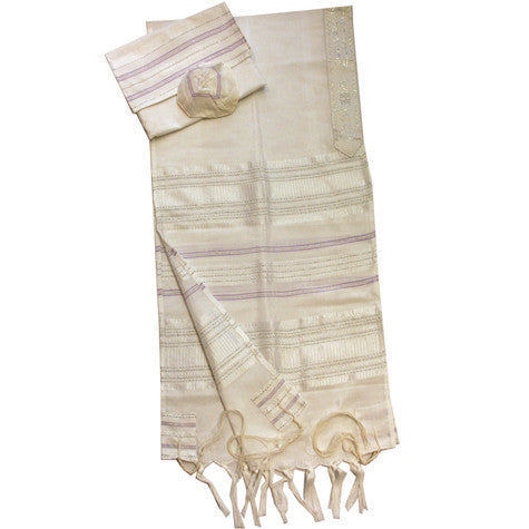 Gabrieli Silk Tallit - Silver and Purple