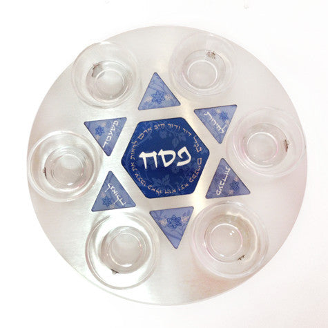 Seder Plate for Pesach - white & blue