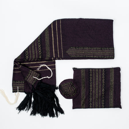 Hagar - Wool Tallit - Black and Gold Design on Purple