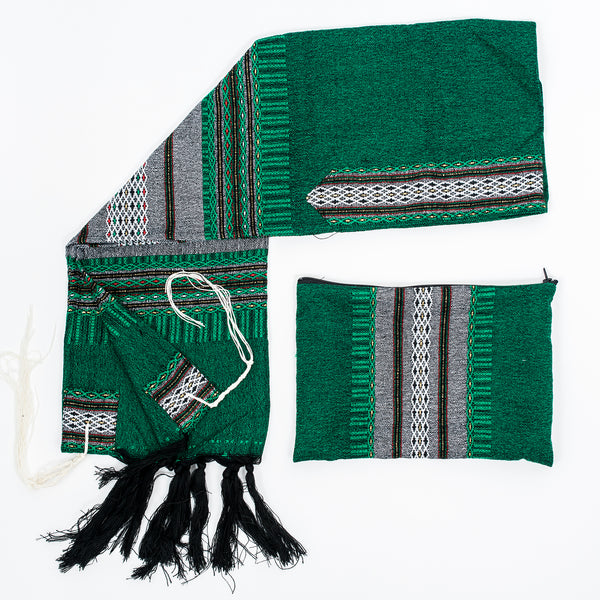 Elia - Wool Tallit - Grey with Gold on Green