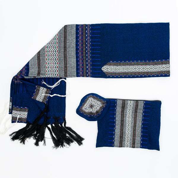 Elia - Wool Tallit - Grey on Blue