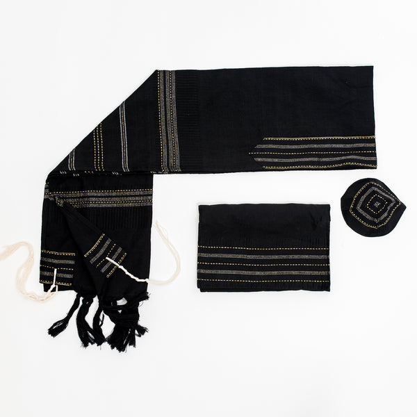 Elia - Silk Tallit - Gold and Silver on Black