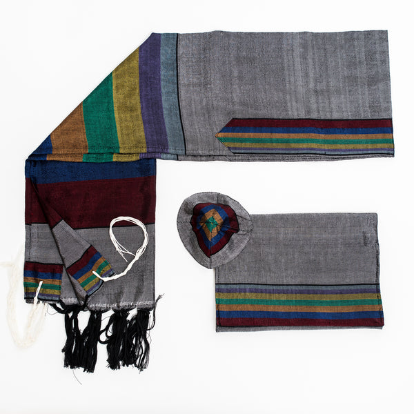Esther - Silk Tallit - Rainbow Stripes on Gray