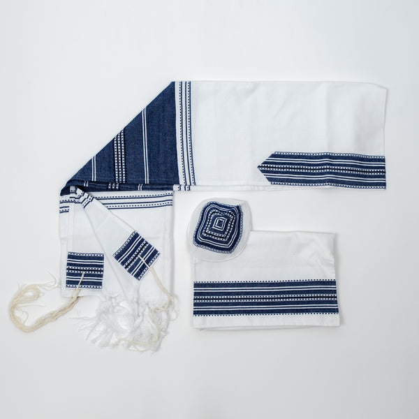 Elia - Cotton Tallit - Blue on White