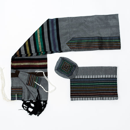 Purim - Silk Tallit - Gray Background