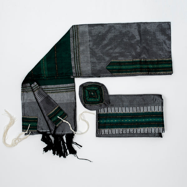 Elia - Silk Tallit- Bordeaux Green and Gold on Gray