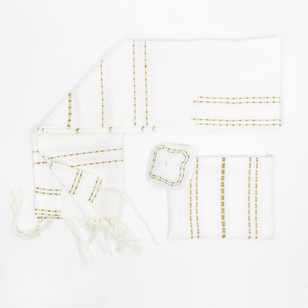 Perach - Wool Tallit - Gold Stripes