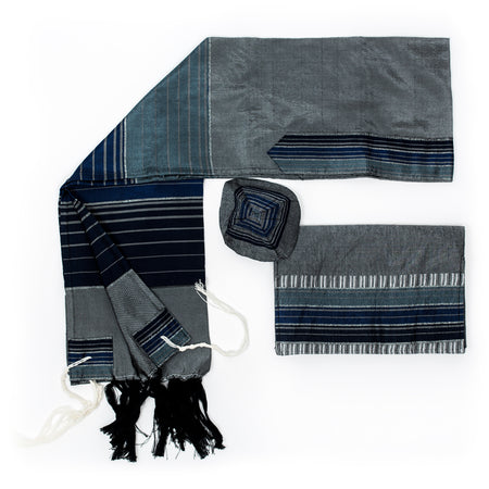 Ella - Silk Tallit- Gray with 3 Blues and Silver