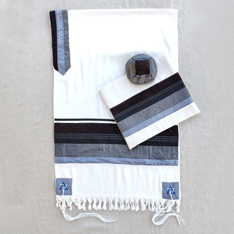 NEW - Elegant Gabrieli tallit - Rust Brown on White