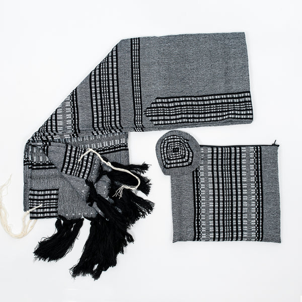 Yoel - Wool Tallit  - Black and Grays on Gray
