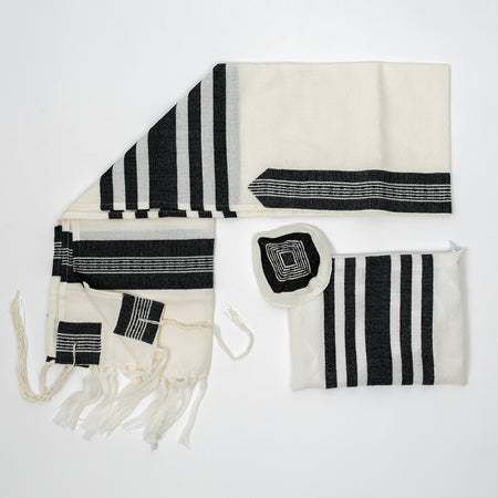 David - Wool Tallit - Wide Black stripes on White